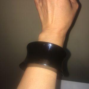 Women's Black Sleek Cuff Bangle Bracelet